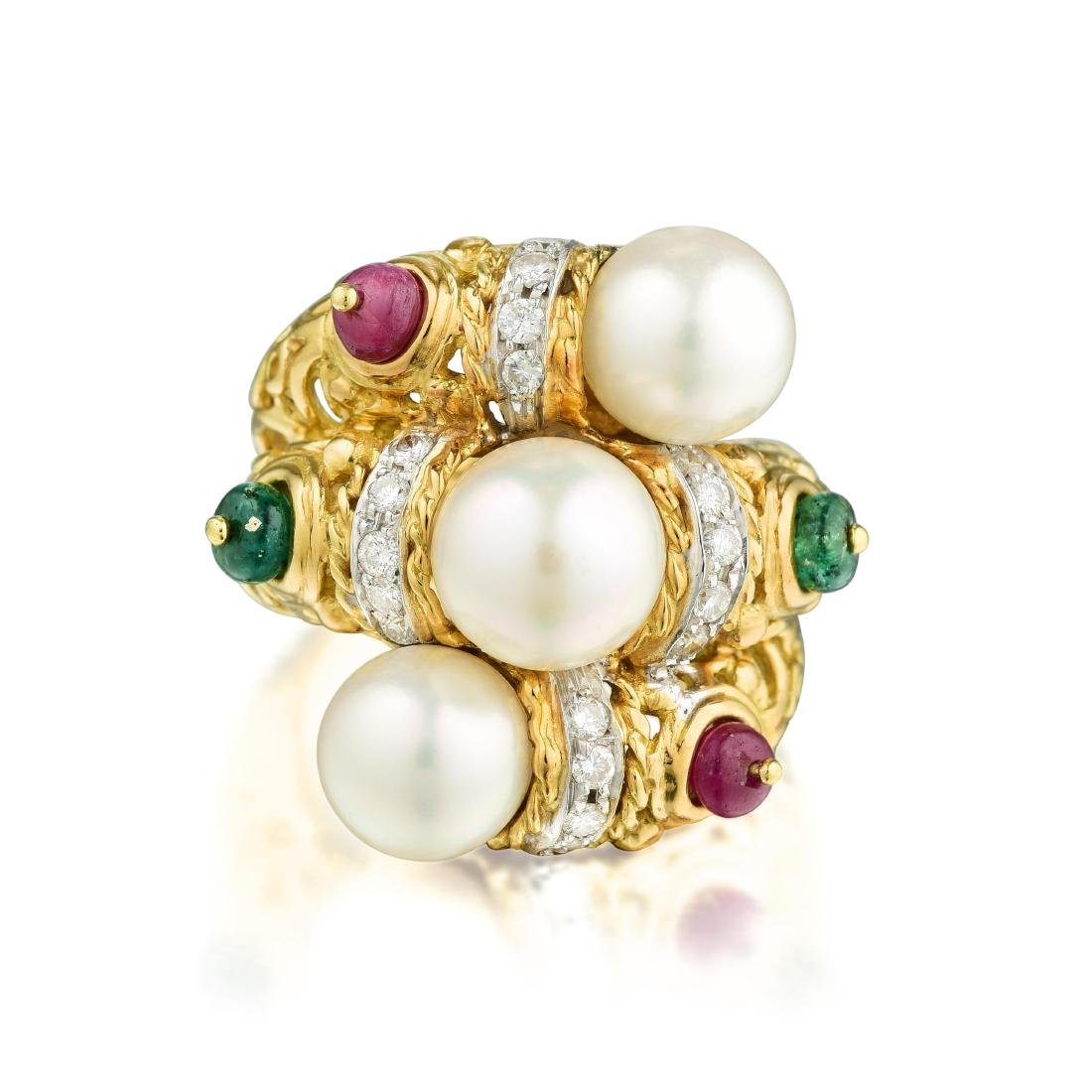 A Cultured Pearl Ruby Emerald and Diamond Ring, Italian