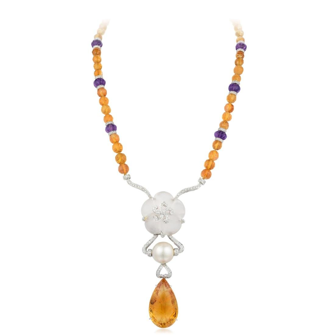 A Citrine Amethyst and Diamond Necklace