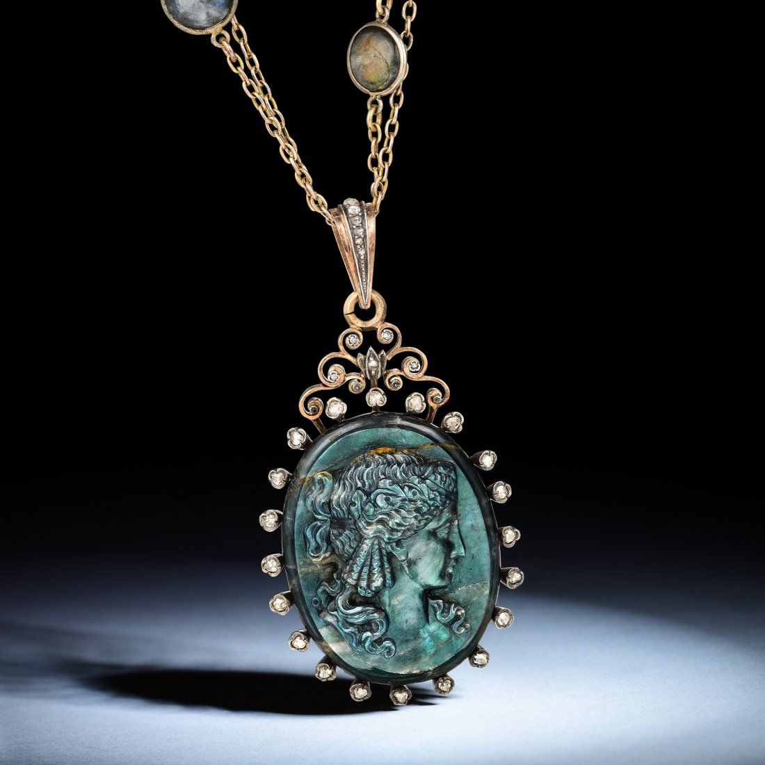 Victorian Hardstone Labradorite Cameo and Diamond