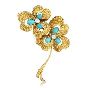 Van Cleef Arpels Turquoise and Diamond Flower Pin