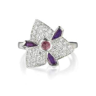 Cartier Caresse DOrchidee Amethyst and Diamond Ring
