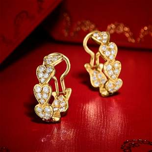 Cartier Virgo Diamond Heart Hoop Earclips
