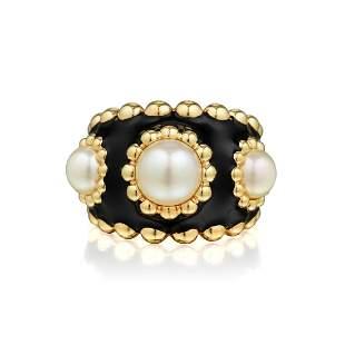 Chanel Enamel Cultured Pearl Ring