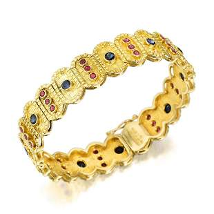 Lalaounis Sapphire and Ruby Bangle Bracelet