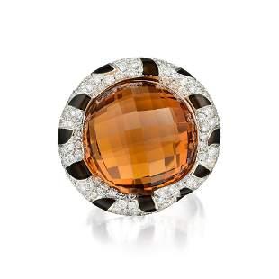 Legnazzi Enamel Citrine and Diamond Ring