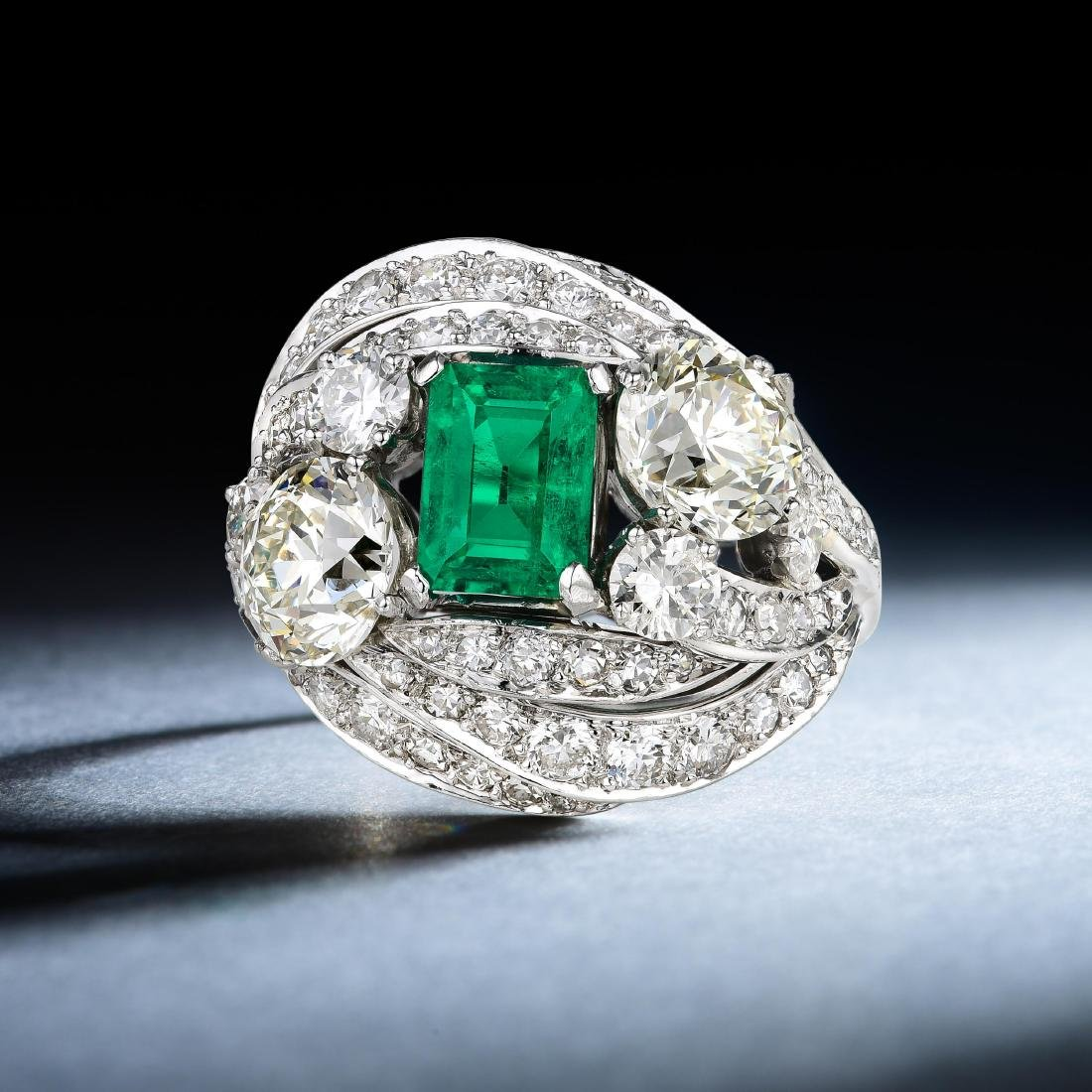 Ruser 1.44-Carat No Oil Colombian Emerald Diamond Ring