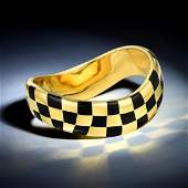 Angela Cummings Gold and Black Jade Checkerboard Bangle