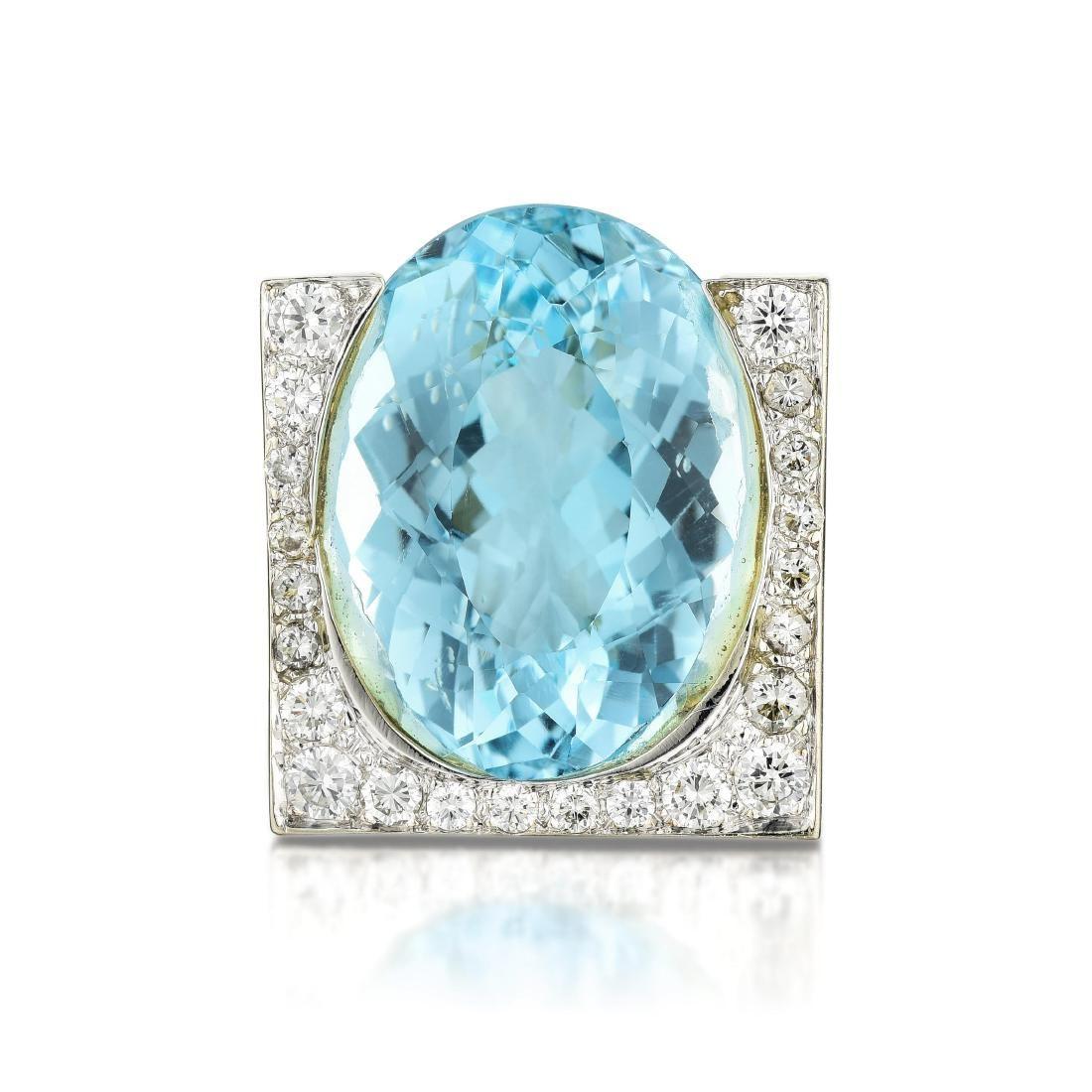 Jean Vendome Topaz and Diamond Ring