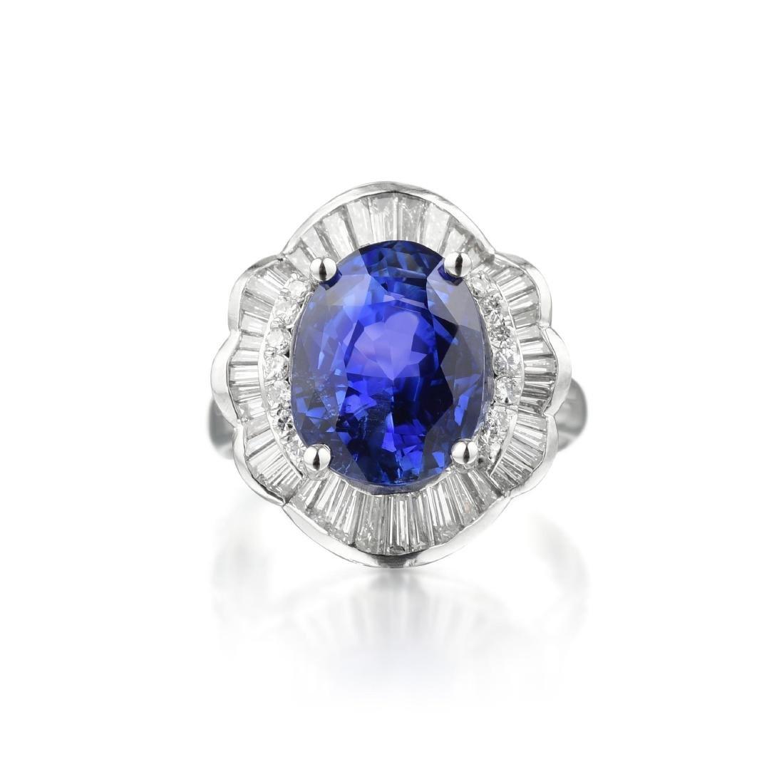 A 7.42-Carat Unheated Ceylon Sapphire and Diamond Ring