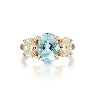 A 2.41-Carat Aquamarine and Diamond Ring