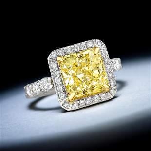 A 2.83-Carat Fancy Yellow Diamond Ring