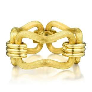 A Brushed Gold Large Link Bracelet, Italian