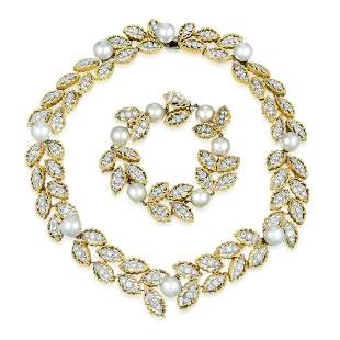 A Diamond and Cultured Pearl Necklace and Bracelet Set