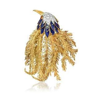 A Diamond and Enamel Bird Brooch