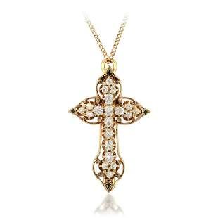 A Old Mine-Cut Diamond Cross Pendant/Pin Necklace