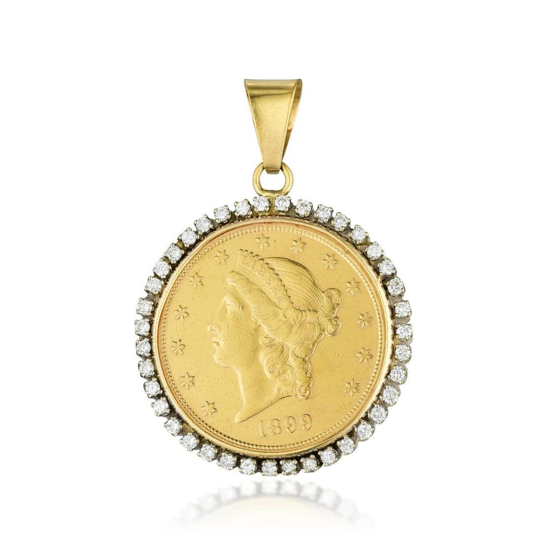 A Lady Liberty Twenty Dollar Gold Coin Diamond Pendant