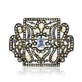 Antique Silver Cultured Pearl Sapphire and Diamond