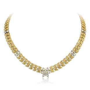 Vintage Buccellati Diamond Leaf Necklace