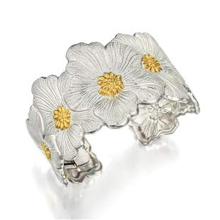 Buccellati Silver Blossoms Gardenia Wide Cuff Bracelet