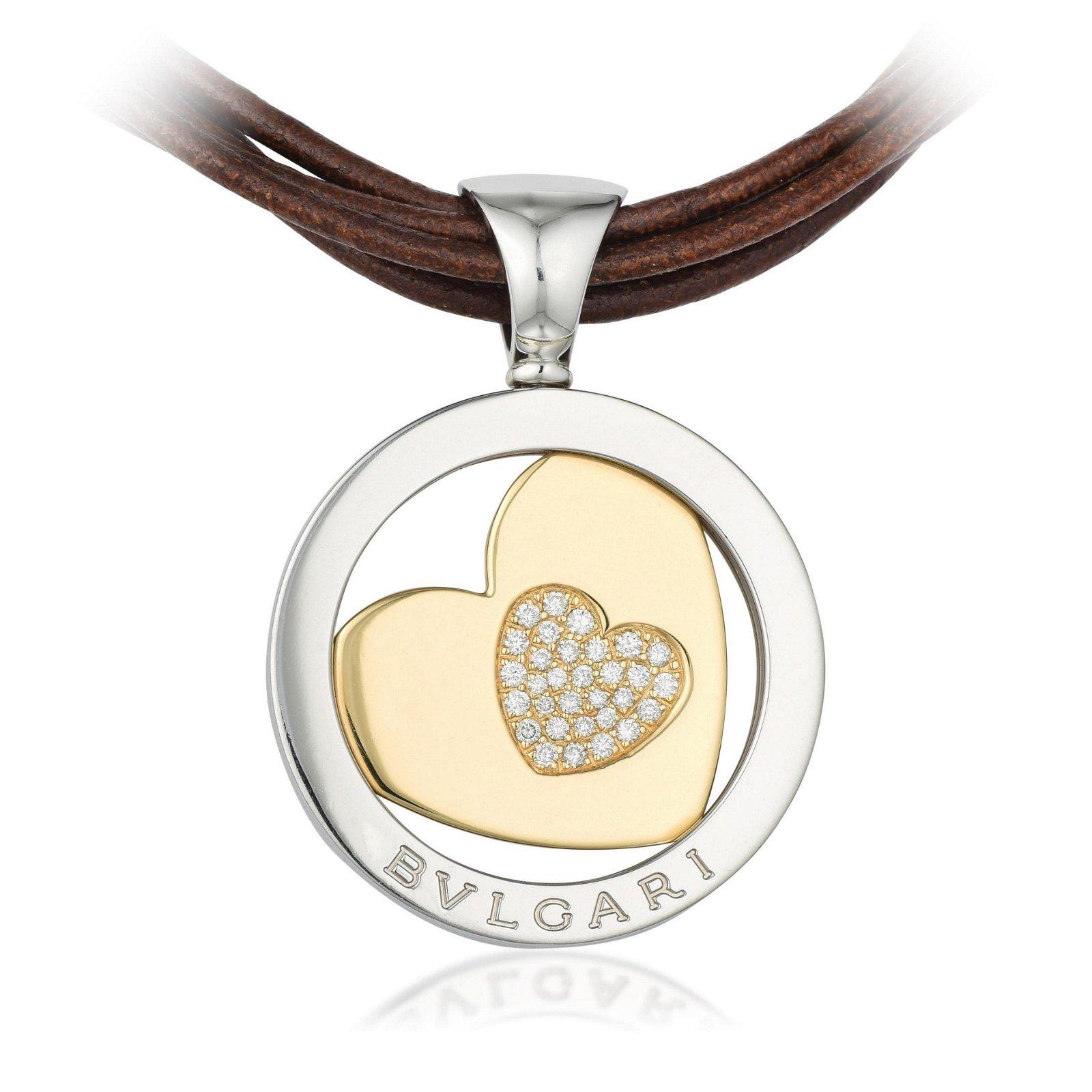 Bulgari Tondo Heart Diamond Pendant on Leather Cord