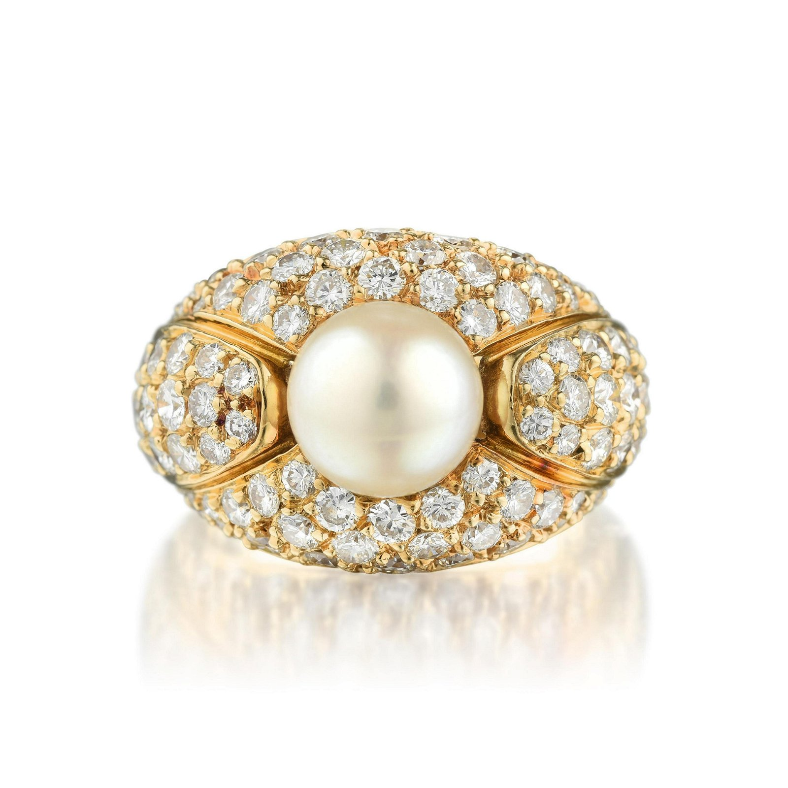 Cartier Cultured Pearl and Diamond Ring