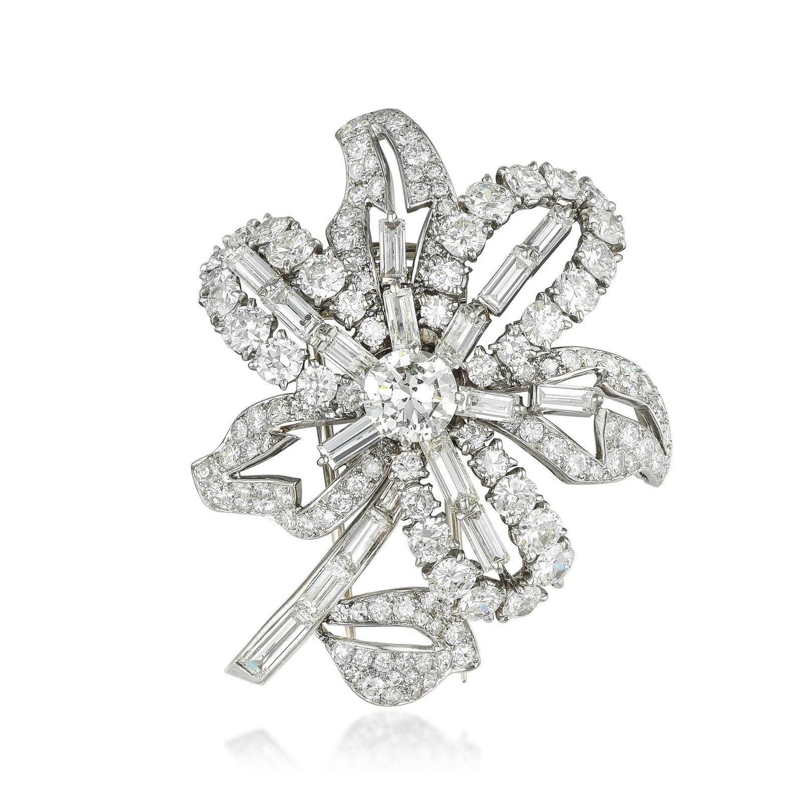 Cartier Vintage Diamond Flower Brooch