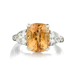 A 667Carat Unheated Ceylon Golden Sapphire Dia Ring