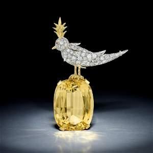 Tiffany & Co. Schlumberger Citrine and Diamond Bird on