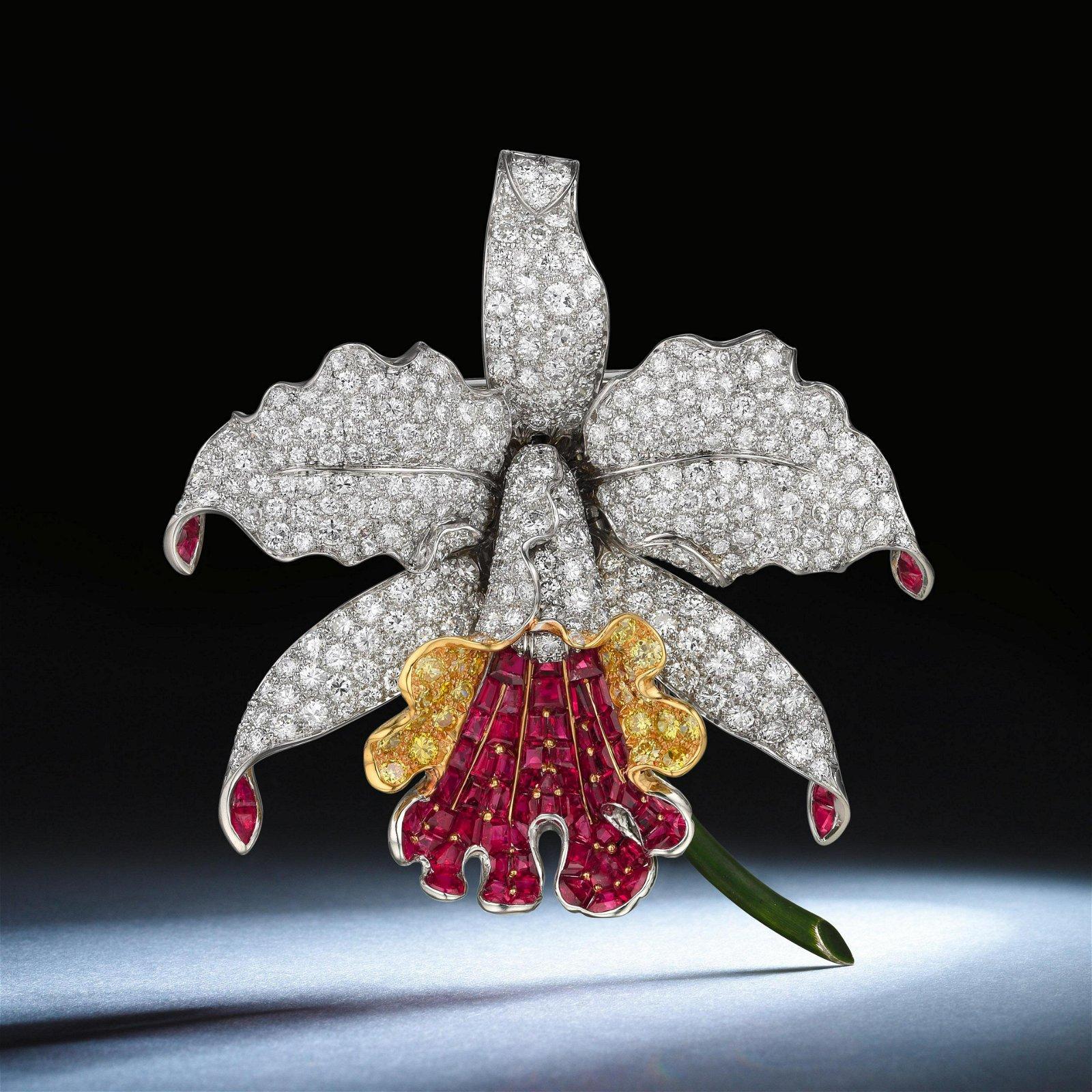 Oscar Heyman Diamond and Ruby Orchid Brooch
