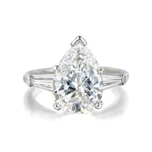 3.14-Carat Pear-Shaped Diamond Ring