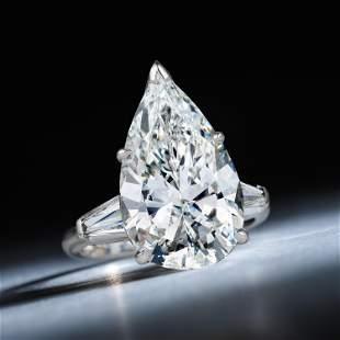 6.43-Carat Pear-Shaped Diamond Ring