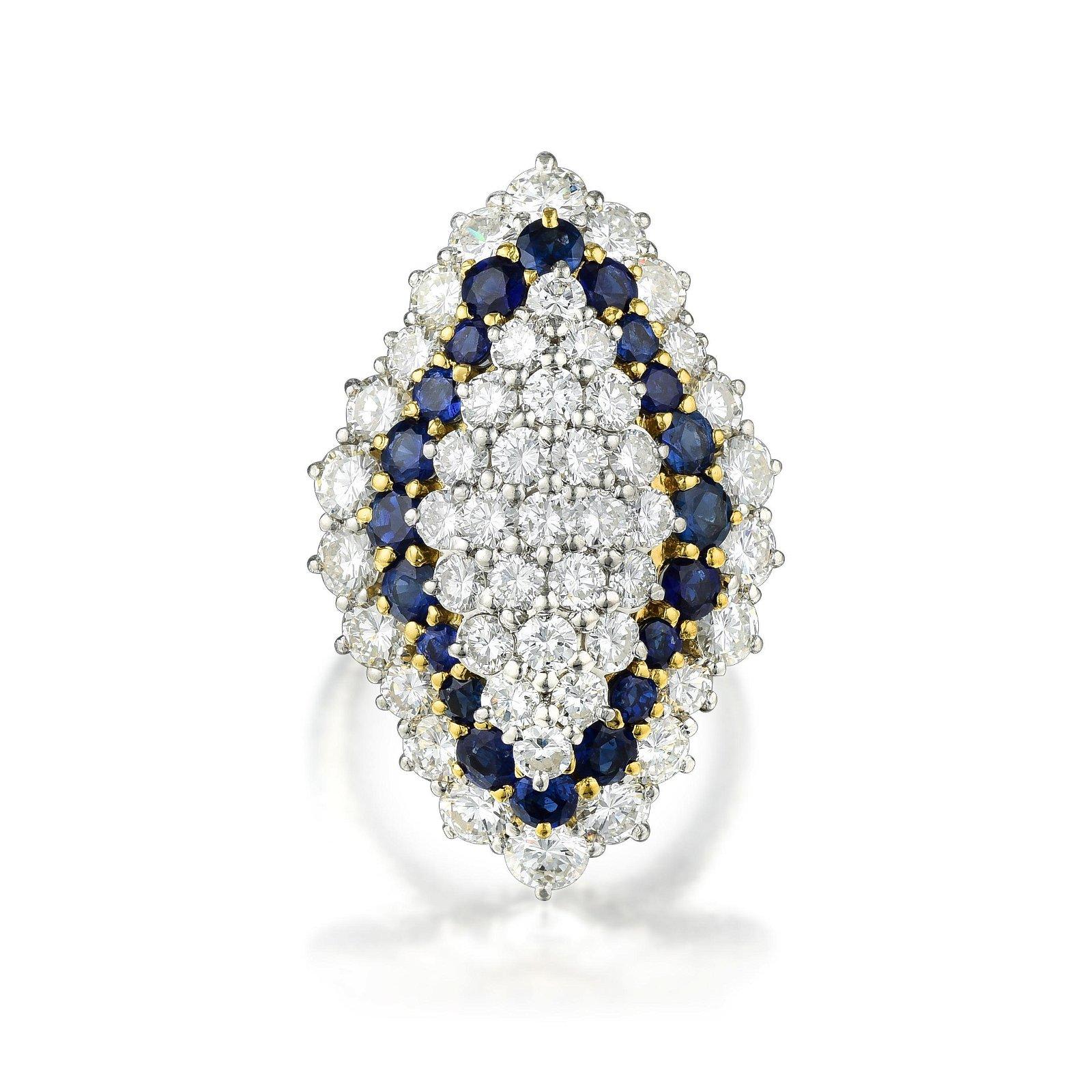 M. Gerard Paris Diamond and Sapphire Ring