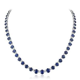 Sapphire and Diamond Line Necklace