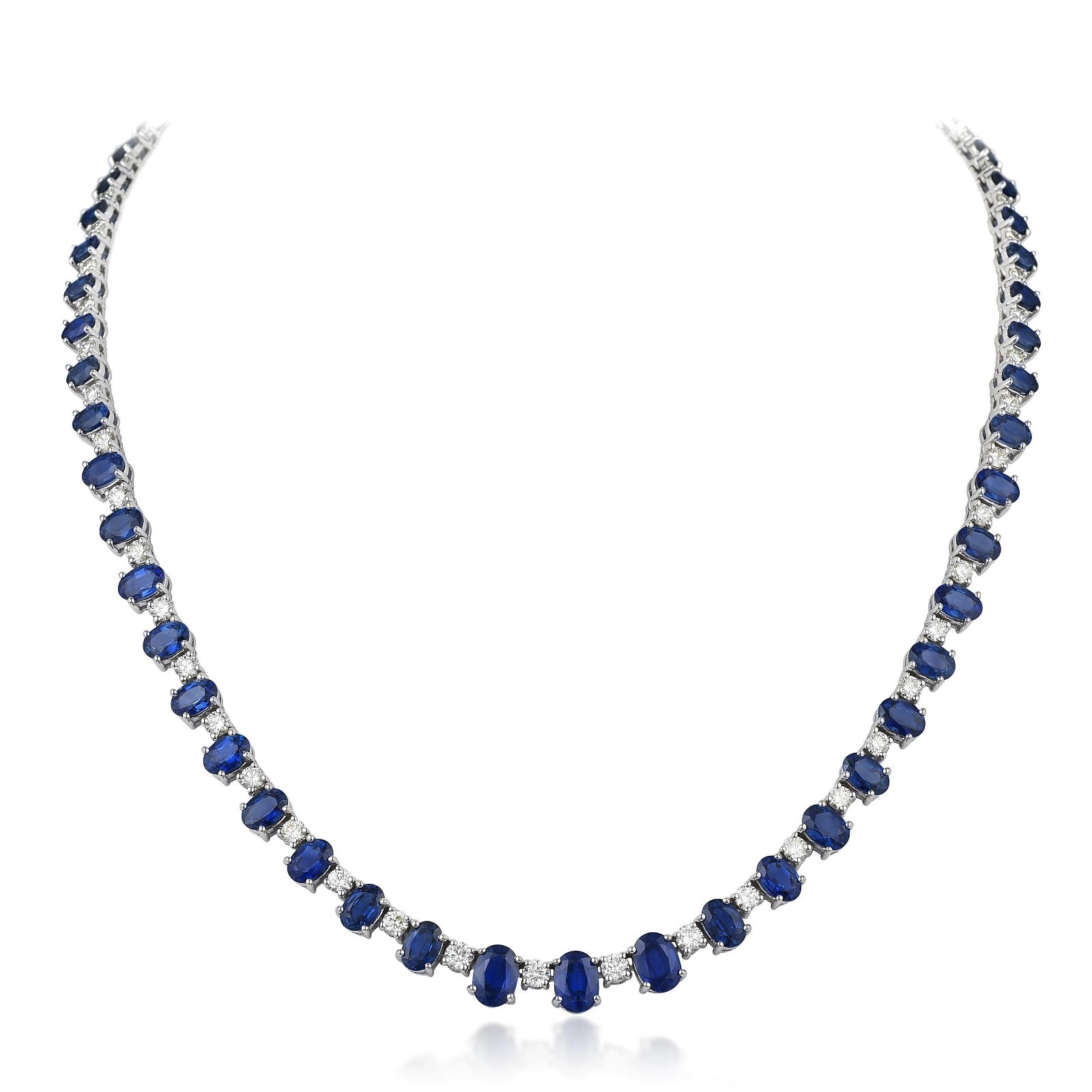 Sapphire and Diamond Line Necklace