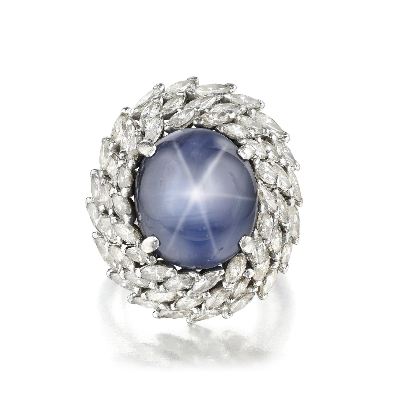 Cabochon Star Sapphire and Diamond Ring