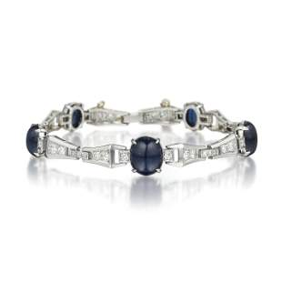 Cabochon Sapphire and Diamond Bracelet