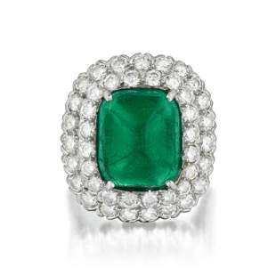 Ruser Sugar-Loaf Colombian Emerald and Diamond Ring