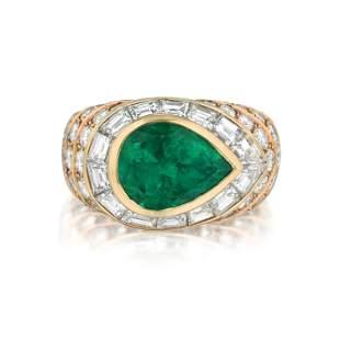 Tabbah 3.16-Carat Colombian Emerald and Diamond Ring