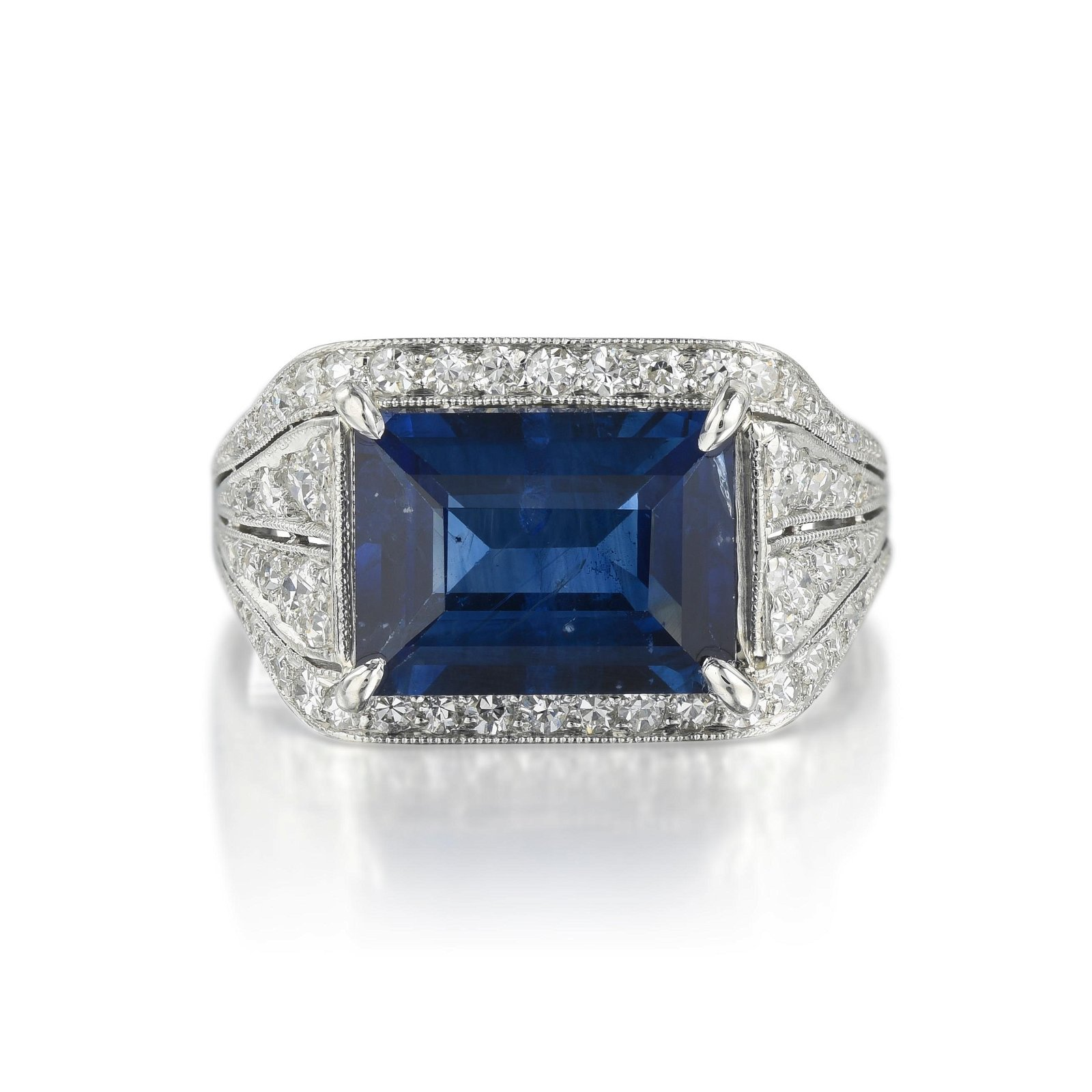 J.E. Caldwell Art Deco Sapphire and Diamond Ring