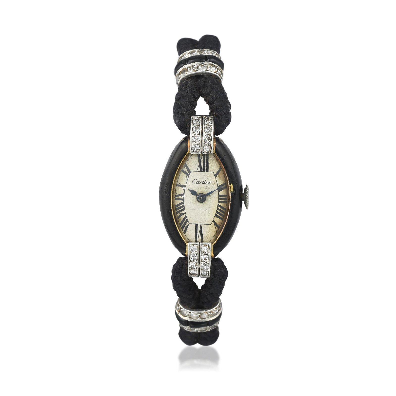 Cartier Art Deco Enamel and Diamond Watch