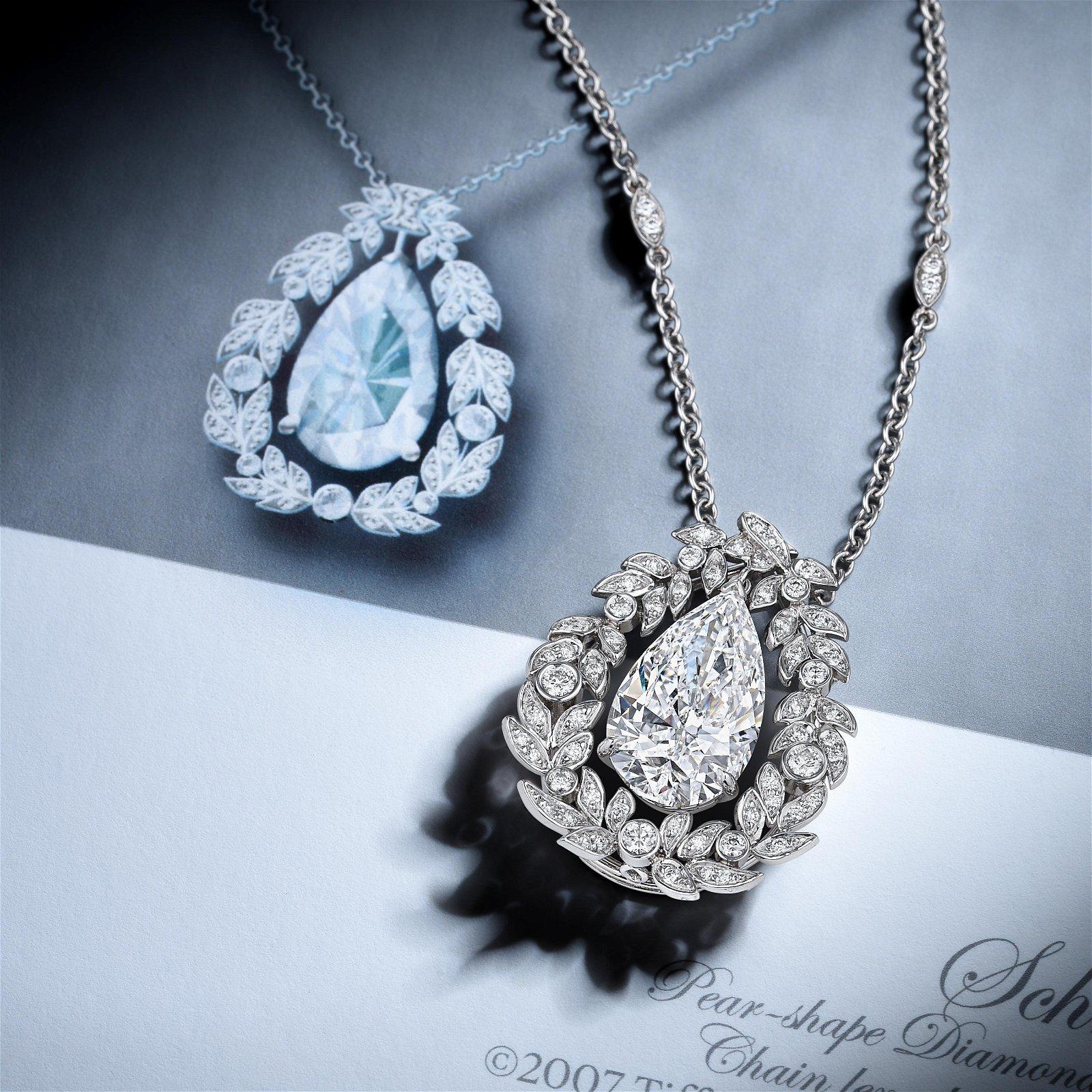 Tiffany & Co. 3.96-Carat Pear-Shaped Diamond Necklace