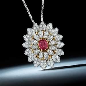 Mario Buccellati Burmese Unheated Ruby and Diamond