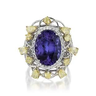 Fine Tanzanite and Diamond Ring Italian