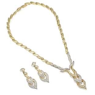 Diamond Necklace and Earrings Set Italian