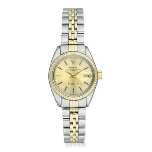 Rolex Ladies Date Tiffany Co Ref 6917 in 14K Gold