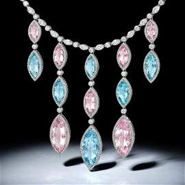 Tiffany & Co. Aquamarine Morganite and Diamond Drop