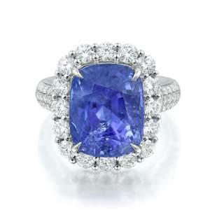 1.21-Carat Burmese Unheated Sapphire and Diamond Ring