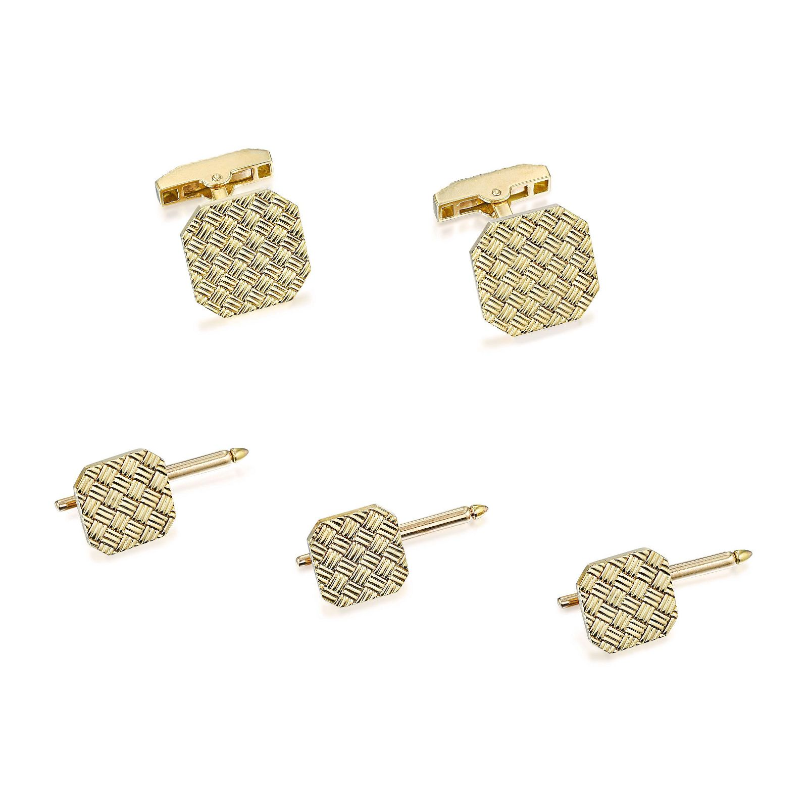 Tiffany & Co. Basket Weave Cufflink and Stud Set