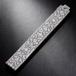 Art Deco Diamond Wide Bracelet, French
