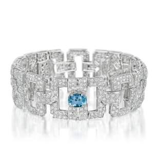 Art Deco Style Diamond and Aquamarine Bracelet